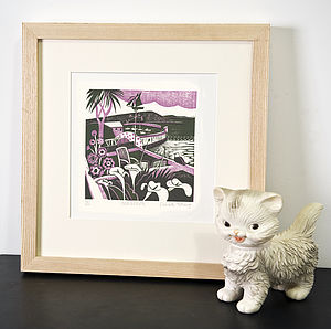 Mousehole Relief Or Letterpress Print - pictures, prints & paintings