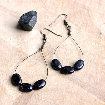 'Starry Night' Blue Goldstone Earrings