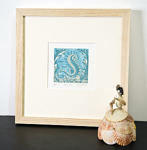 Seahorse Woodcut Print - posters & prints