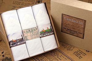 Box Of Three Trains Men's Hankies