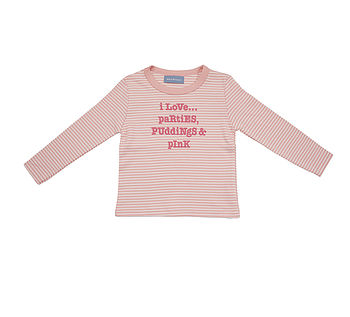 Long Sleeve 'I Love Parties' T Shirt