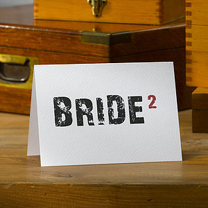 Typographic Civil Wedding 'Bride' Card - wedding, engagement & anniversary cards