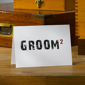 Typographic Civil Wedding 'Groom' Card - wedding, engagement & anniversary cards