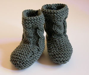 Hand Knit Cable Bootie - footwear