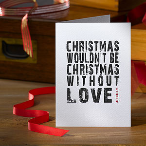 Pack Of Four Love Actually Christmas Cards