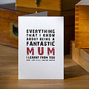 'Being A Fantastic Mum' Mothers Day Card
