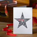 Pack of 4 Typographic Star Christmas Cards