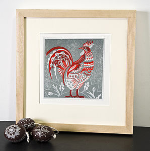 Cock Relief Or Letterpress Print - pictures, prints & paintings
