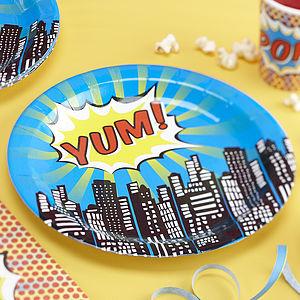 Superhero Pop Art Paper Plates