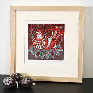 Hen And Chicks Relief Or Letterpress Print - pictures, prints & paintings