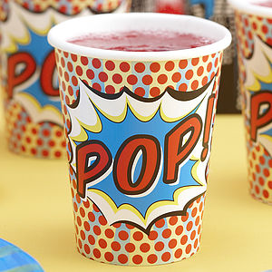Superhero Pop Art Paper Cups - garden & outdoors