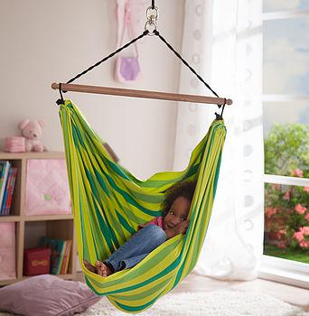 Children's Organic Hammock Swing Chair - Green/Yellow