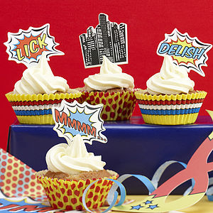 Pop Art Superhero Cupcake Cases And Toppers - baking