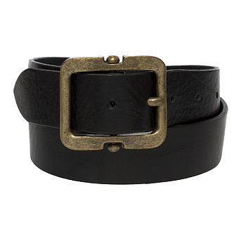Women's Leather Belt With Square Brass Buckle