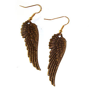 Bronze Toned Angel Wing Earrings - earrings