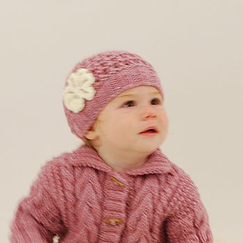 Hand Knitted Baby Hat With Flower