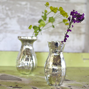 Antique Silver Glass Vase - table decorations