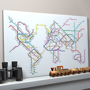 Subway Tube Metro World Map Art Print - gifts for travel-lovers