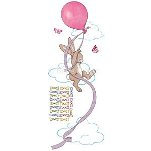 Pink Balloon Height Chart Wall Stickers