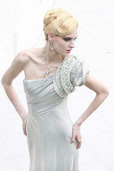 Satin Evening Dress In Silver Elegance