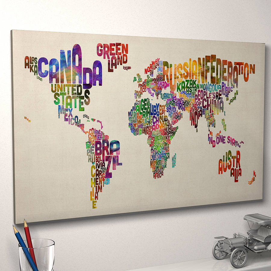 Typography world map art print by artpause notonthehighstreet world map art print ready to hang canvas print vintage beige gumiabroncs Images