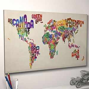 Typography World Map Art Print - maps & locations