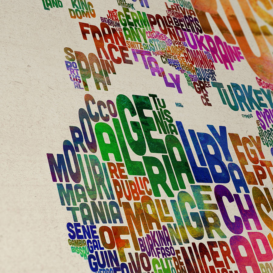 Typography world map art print by artpause notonthehighstreet close up detail gumiabroncs Images