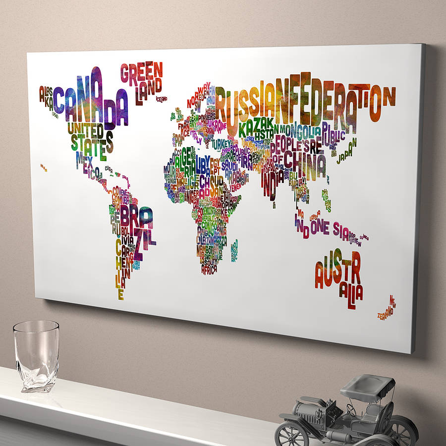 Typography world map art print by artpause notonthehighstreet ready to hang canvas white gumiabroncs Images