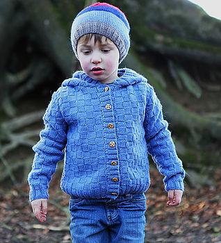 Boy's Hand Knitted Merino Hooded Cardigan