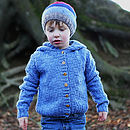 Boy's Hand Knitted Merino Hooded Cardigan