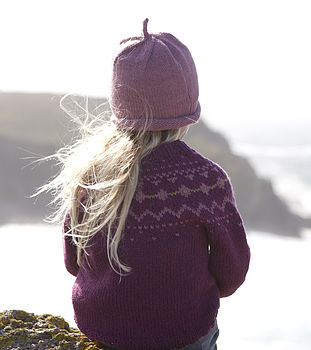Fair Isle Yoke Jumper Plum