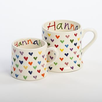 Personalised Love Hearts Mug, Hand Painted