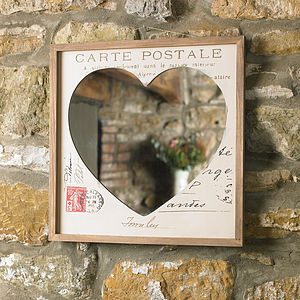 French Wooden Heart Mirror - mirrors