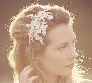 Anais Beaded Lace Headpiece/Headband - bridal hairpieces