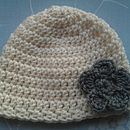 Organic Merino Cream with Grey Flower