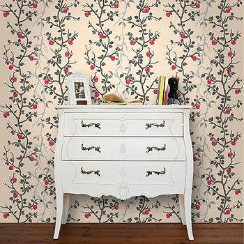 Skulls & Angels Wallpaper Cream - Living View