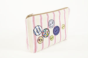 Embroidered Button Make Up Bag - make-up bags