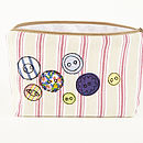 Embroidered Button Make Up Bag