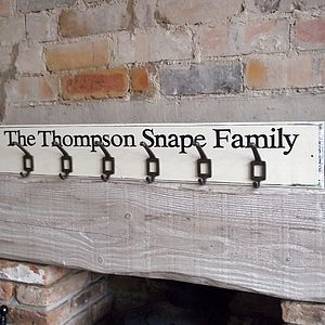 Personalised Family Coat Hooks - bedroom