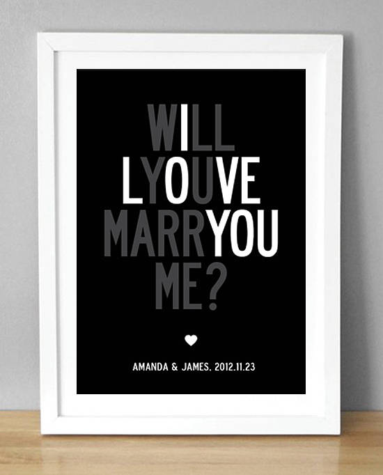 Personalised Wedding Proposal Print Will You Marry By I Love