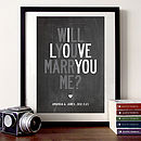 Personalised Wedding Proposal Print 'Will You Marry…'