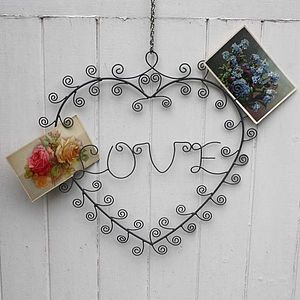 Wire Heart 'Love' Photo And Memo Holder - noticeboards