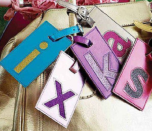 Leather Initial Luggage Tag