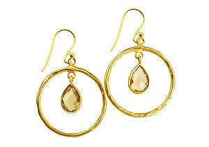 Hoop Earrings Citrine And Gold