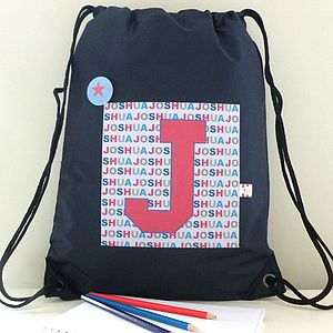 Boy's Personalised Initial Waterproof Kit Bag - storage