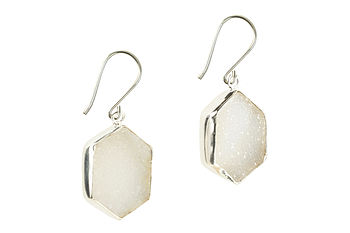 Hex Gem Earrings White Druzy And Silver