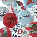 Boy's Personalised Magnets Or Badges Set