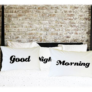 'Good Morning' And 'Good Evening' Pillowcase - bedroom