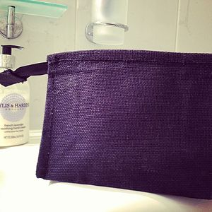Black Jute Washbag - wash & toiletry bags