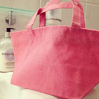 Pink Jute Washbag With Handles